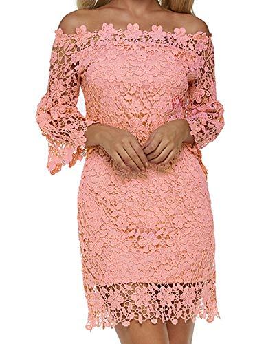 Auxo Damen Schulterfreie Langarm Kleider mit Spitze Elegant Blumen Kurz Abend Etuikleid Lachs rosa EU 38/Etikettgröße M