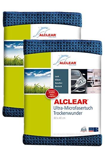 ALCLEAR Auto Microfasertuch Trockenwunder für Autopflege, 2er Set, Autolack, Motorrad, Küche u. Haushalt - Microfaser Geschirrtuch - weiches Trockentuch - 60x40 cm blau