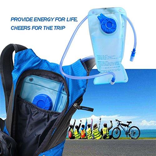 Pomelo Best Trinkrucksack Sport Backpack mit integriertem 6.5W Solarpanel und 1.8L BPA frei Trinkbeutel für Outdoor Camping Trekking Wandern Blau