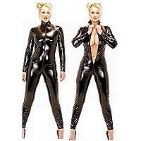 """Catsuit, Wet look wie""""Latex"""", Gr. 36-42 Ganzkörper Anzug, Damen, Frauen, schwarz, glänzend, Reißverschluss, Zip, von vorne bis hinten, wet look, fetisch, Fasching, Sexspielzeug, Sex"""