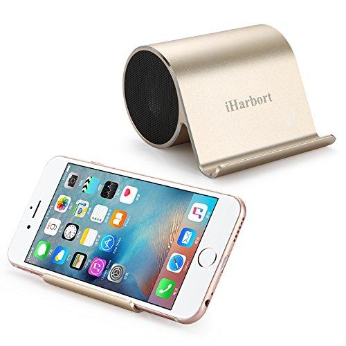 Preisvergleich Produktbild iHarbort® mini beweglicher nachladbarer Bluetooth Lautsprecher mit Bass und Handy-Halter stand für Tablet / Handy- Gold