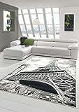 Traum Designer Teppich Moderner Teppich Wohnzimmer Teppich Eiffelturm Motiv Grau Schwarz Creme Größe 120x170 cm