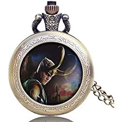 "LOKI Antique Bronze Effect Retro/Vintage Case Men's Quartz Pocket Watch Necklace - On 32"" Inch / 80cm Chain"
