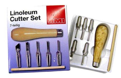 445794 - 7-teiliges Linolschnitt-Set / Linolmesser-Set mit Holzgriff, echt gutes Teil mit dem man sehr gut arbeiten kann!