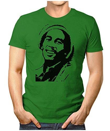 PRILANO Herren Fun T-Shirt - BOB-FACE - L - Grün (Marley-face-t-shirt Bob)
