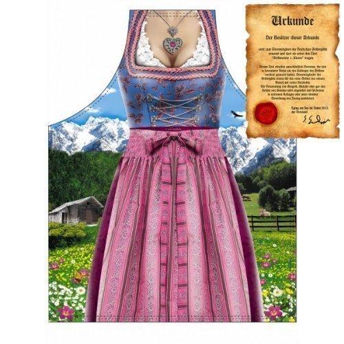 lustig bedruckte Bayern Grill und Kochschürze: Dirndl - Tracht mit einer GRATIS Urkunde Einheitsgröße