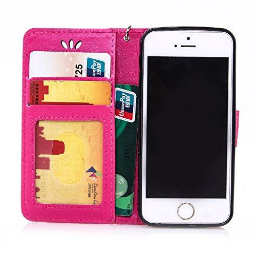 IPhone 5S SE cas avec courroie Courroie Card Cash Slots Premium PU Leather Case Wallet Case Embossed cas papillon pour IPhone 5S 5 SE ( Color : Black , Size : IPhone 5S SE ) Red