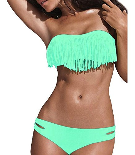 Damen Türkis Push Up Neckholder Bikini Set Cup Fransen Bandeau Badeanzug Strand Beach Größe M/L (Neckholder-badeanzug Braunes)