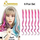 """Clip di capelli ricci rosa caldo nelle estensioni dei capelli Lunghi arricciacapelli Colorati Highlight per Halloween (6Pcs x 20 """")"""