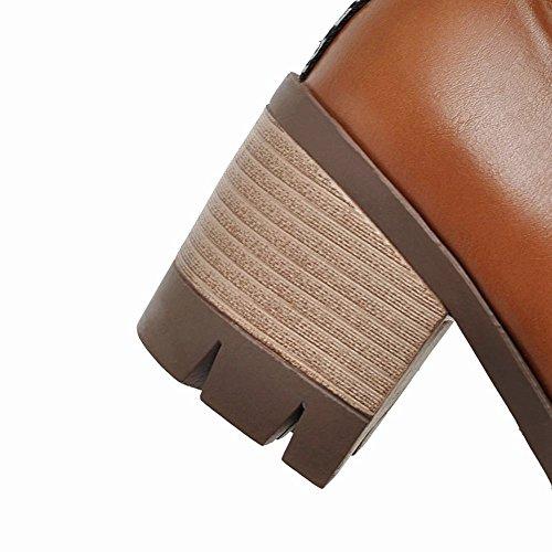 Mee Shoes Damen bequem chunky heel mit Schnürsenkel Pumps Freizeitschuhe Braun