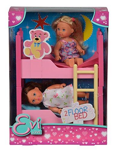 Simba 105733847 - Evi Love Puppen im Stockbett (Mädchen Kleine Möbel-set)