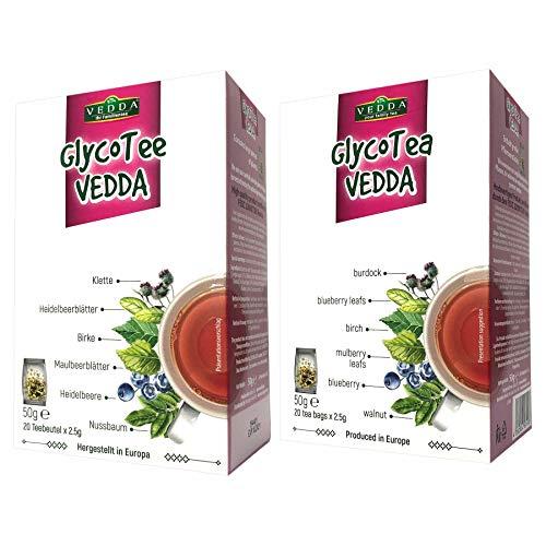 Vedda Glyco Tee, reguliert und hilft der Blutzucker senkung, Unterstützung eines gesunden Blutzuckerspiegels, Klassischer Geschmak, Hergestellt in Europa, 40 Teetaasen, 100g (50g / Pack, 2 Stück)