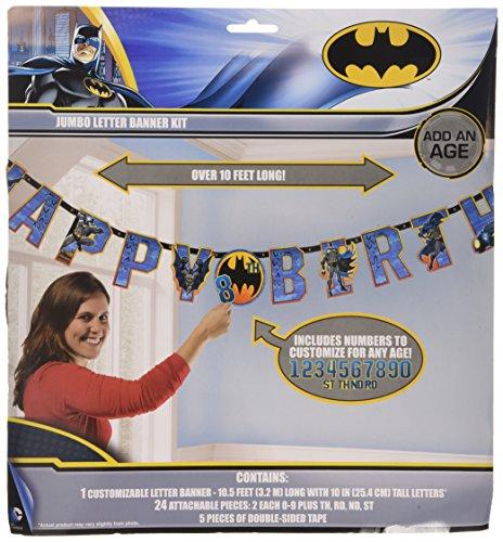 Amscan International Batman Jumbo Geburtstags-Banner, Alter kann beliebig ausgetauscht Werden -