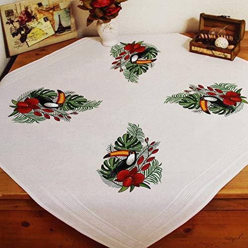 Kit de Punto de Cruz para Mantel 80 x 80 cm, algod/ón, Incluye Plantilla de Bordado KAMACA