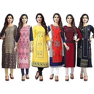 1 Stop Fashion Women's crepe straight Kurta (Pack of 6