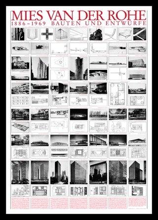 Ludwig Mies van der Rohe Bauten und Entwürfe Architektur Plakat Poster Kunstdruck Bild im Alu Rahmen in schwarz 106x76cm - Germanposters