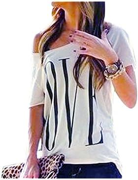 QIYUN.Z Las Mujeres Amor Ocasional Imprimen Blancas De Manga Corta Camisas De Algodon De Verano Tees