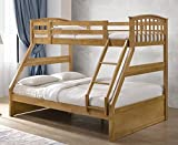 Oak Finished Hardwood Triple Sleeper Bunk Bed