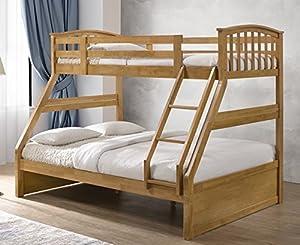 Oak Finished Hardwood Triple Sleeper Bunk Bed