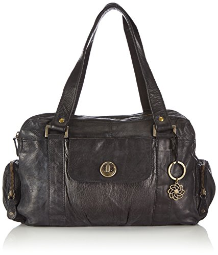 PIECES Damen TOTALLY ROYAL LEATHER SMALL BAG NOOS Schultertaschen, Schwarz (Black), 32x20x12 cm