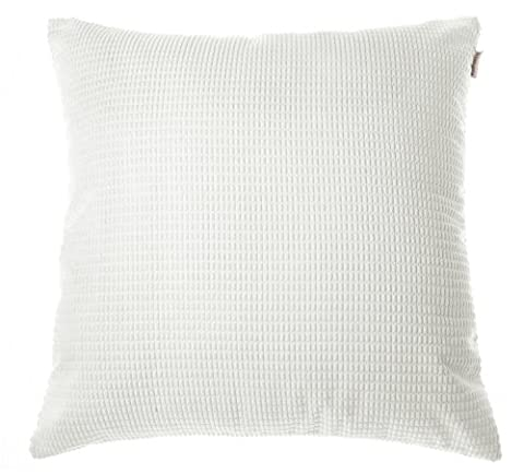 Noblidonna 60x60cm Corduroy Decorative Pillowcase White Solid Color Cushion Cover for Sofa Cotton Throw Pillow (Lusso Federe)
