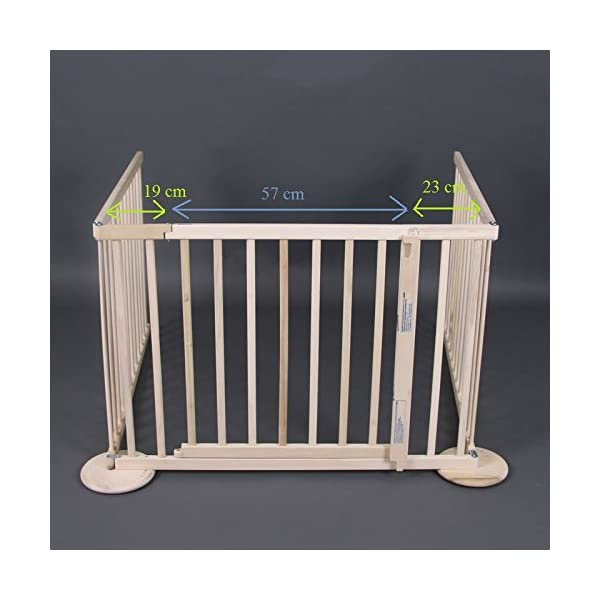 Room divider/playpen Max XL 180-240cm, wood, 3 elements Bambino World Expansible, sturdy safety gate made of solid wood. Protect your child against accidents and secure stairs and other dangerous places in the house. Main features - Room divider / playpen Max XL 180-240cm, wood, 3 elements      Fixation:  using screws     Opening system: Eye bolt     Material: High quality rubberwood     Color: Natural     Height: 70cm     Distance between bars:  2