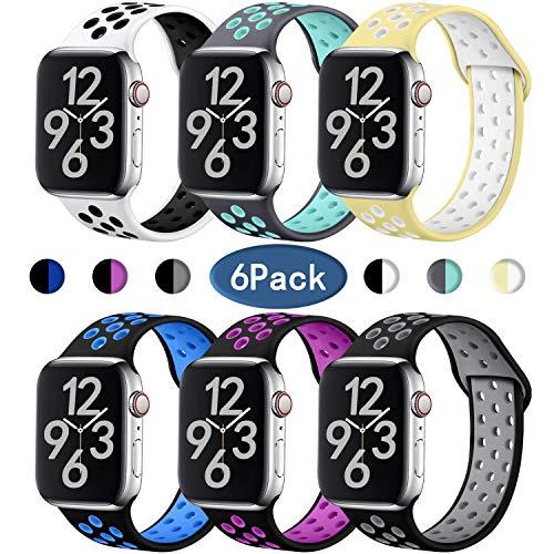 Hamile Correa para Apple Watch 38mm 40mm, Doble Color Pulsera de Repuesto de Silicona Suave Transpirable Correa para Apple Watch Series 5/4/3/2/1, S/M 6Colores-1
