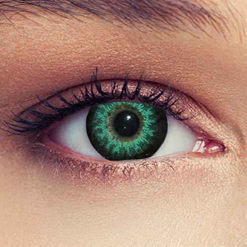 """Designlenses 2 Grüne Kontaktlinsen mit Stärke Drei Monatslinsen für einen Bigeye Effekt, geeignet für dunkle Augen + Gratis Behälter""""High intensive Green"""" -2,25"""