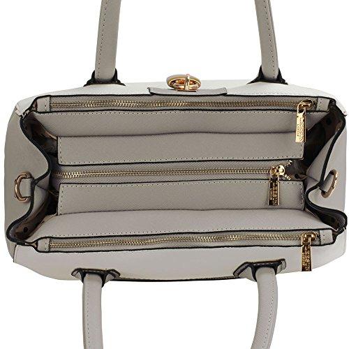 Leesun London Damen Kunstleder Handtaschen Große Drei Fächern Frauen Designer Taschen Tote Schulter Taschen C - Grau/Weiß