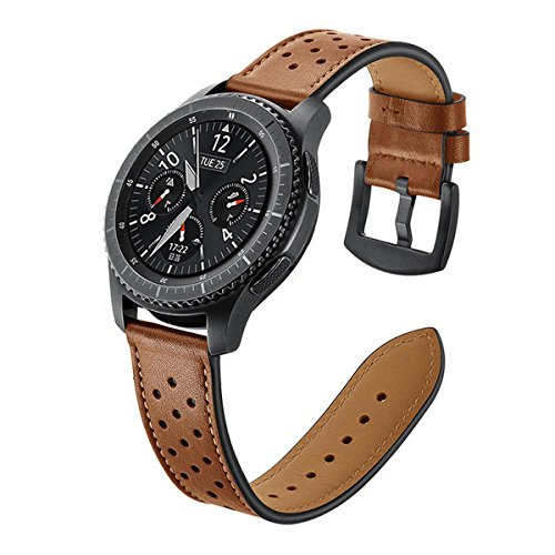 Shopbibles 22MM echtes Lederarmband Ersatzarmband Smart Watch Bands Echtes Leder Uhrenarmbänder für Samsung Gear S3 Frontier / S3 Klassic (Watch Bands 22mm Leder)