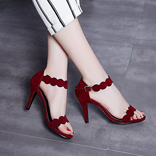 Mee Shoes Damen high heels ankle strap Schnalle Sandalen Rot