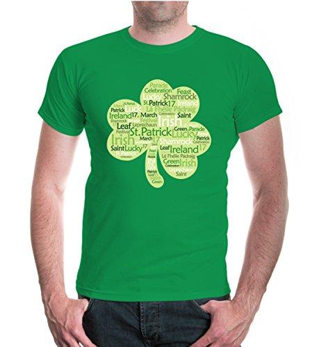 buXsbaum® Herren Unisex Kurzarm T-Shirt bedruckt Irish-Leaf | Irland St. Patrick Green | L kellygreen-z-direct Grün (Irish Glück Herren T-shirts)