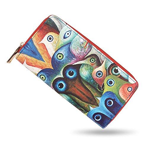 a415d2a4b6754c bluzelle Geldbeutel Geldbörse Portemonnaie aus Kunst-Leder mit Handyfach,  Lange Premium Design Brieftasche, Umlaufender Reißverschluss Münzfach  Kartenfächer ...