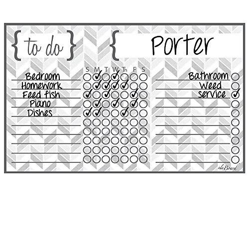 Dry Erase Chore Chart Magnet: Herringbone Gray by ala Board