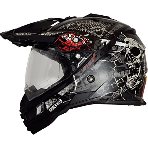 Broken Head Road Pirate Black Edition | Enduro Helm - MX Motocross Helm mit Sonnenblende Größe S (55-56 cm)