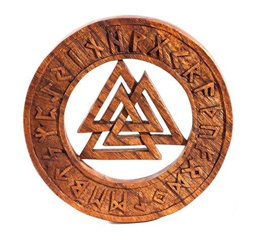 Windalf Vikingo Madera de Valknut Diámetro 23cm Viking runas asatru Lienzo Deko Mano de Madera