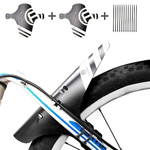 """MTB Mudguard, 2 Stücke Fahrrad Schutzblech Bike Spritzschutz Mudguard Mountainbike Hinten und Vorne Spritzschutz 12 Kabelbinder Passen 26\"""" 27,5\"""" 29\"""" Fettes Fahrrad (Grau, 2pack)"""