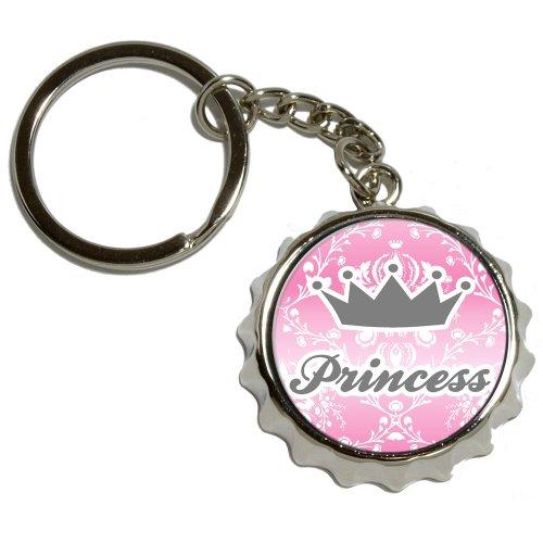 Preisvergleich Produktbild Prinzessin Krone pink Damast-Spoiled-vernickeltes Metall PopCap Flaschenöffner Schlüsselanhänger Ring