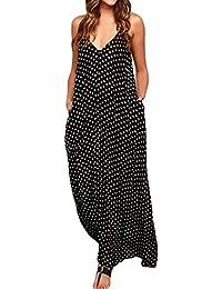 Yidarton Damen V-Ausschnitt Polka Punkt Taschen Lang Maxi Kleid Boho Beiläufige Cocktail Bademode Partykleid