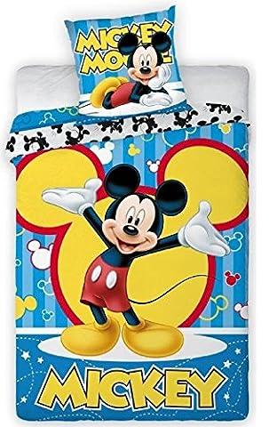 S1 / drap housse de couette imrpimé Mickey drap 140x200 cm et 1 taie d'oreiller 70x90 cm : Disney