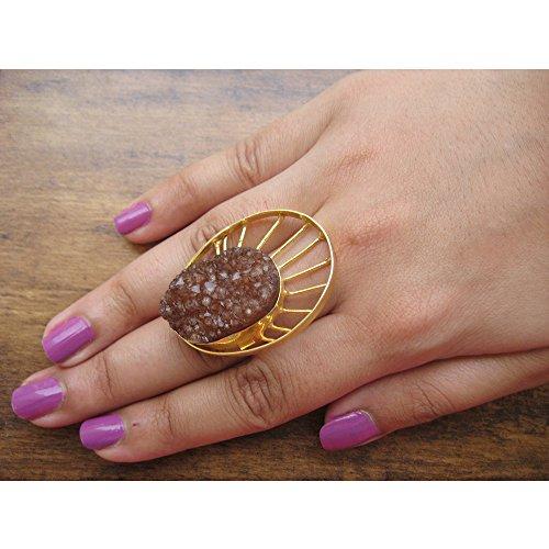 Druzy Ring, Aussage Ring, Setzring, verstellbarer Ring, Goldring, Edelstein-Ring, Stein Ring (Druzy-ring)