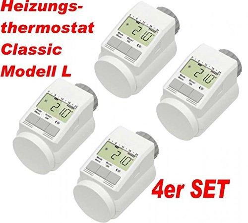 Komforthaus-Termostato'Classic', modelo L, muy silencioso, versión Pro, con robusta tuerca metálica, en set para 4habitaciones