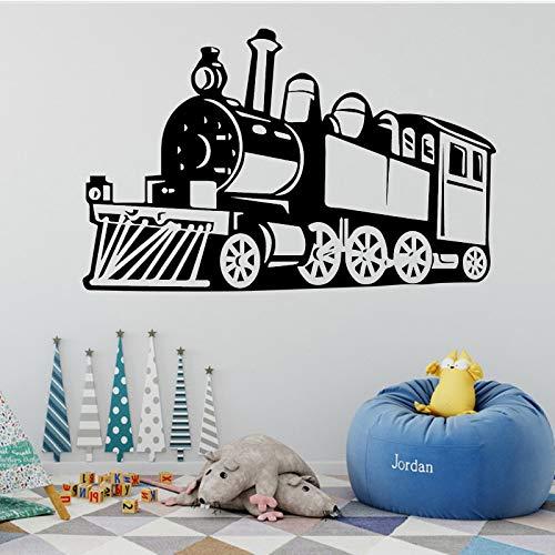 nkfrjz Claasic Train À Vapeur Autocollants Muraux Amovible Sticker Train Autocollant Mural Décoration Salon Enfants Garçons Chambre Murale Affiche Gris 43 cm X 67 cm