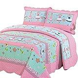 Alicemall Tagesdecke Baumwolle Bettüberwurf 150x200cm Sofa Couch Kinder Überwurf Decke Sommerdecke Gesteppt Steppdecke - Blumen und Mädchen