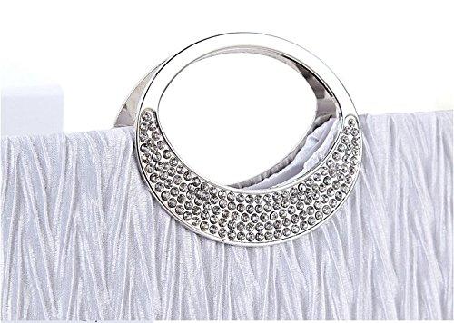 Aisi Damen Satin Clutch Abendtasche Party-Bags mit Zusatzkette und Magnetverschluss Weiß Schwarz Weiß