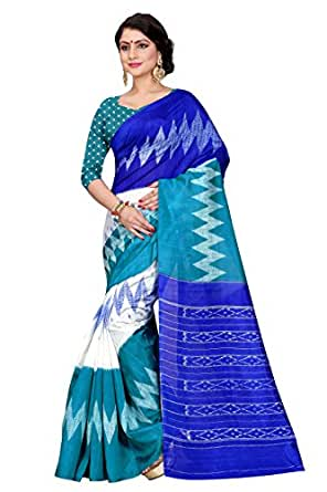 Sugathari Sarees Women's Rama Green and Blue Mysore Bhagalpuri Art Silk Saree (Bhagalpuri Sarees 61 Rama Blue)