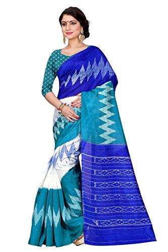 Sugathari Sarees Women\'s Rama Green and Blue Mysore Bhagalpuri Art Silk Saree (Bhagalpuri Sarees 61 Rama Blue)