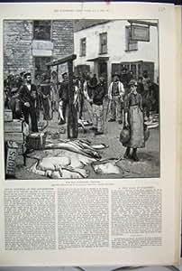 Art Victorien du Marché de Polperro les Cornouailles de Vente de 1888 Poissons
