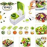 HOBFU Cortadora de Verduras 13 en 1, rebanadora de rebanadas Mandoline, 7 Cuchillas de Acero Inoxidable Intercambiables, cortadora de Cuchillas cortadoras de Vegetales y rallador