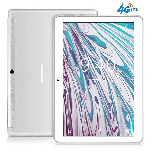 Tablet 10 Pollici 4G LTE BEISTA-(3GB RAM,32GB ROM,Android 7.0 tablets,Quad-core,Sim,WiFi,Corpo in metallo ultrasottile,Schermo in vetro temperato,GPS,Bluetooth,OTG)-Argento